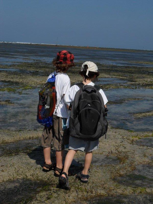kids at low tide