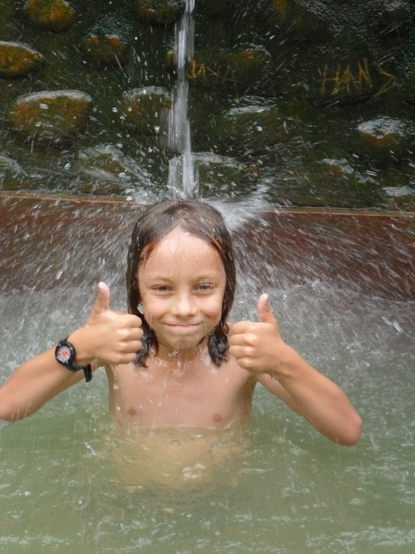 Teo in the hot pool