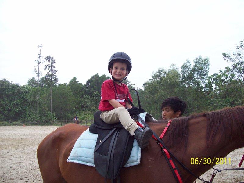 Ridgley at horse riding lessons.