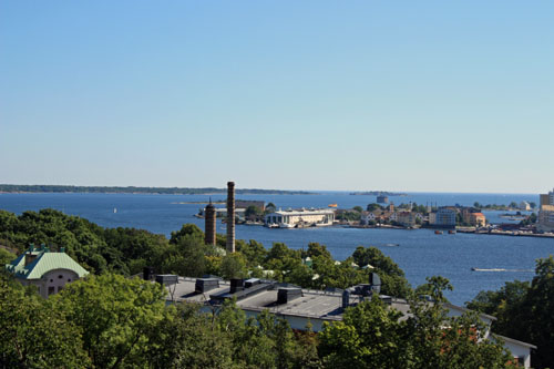 View of Karlskrona in Sweden from Bryggareberget