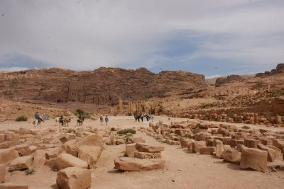 Petra 'city center' with kings wall in background