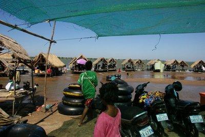 The beach establishment at the banks of Mekong