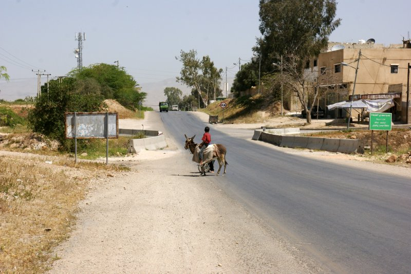 Children riding a donkey on the road copying border with Israel