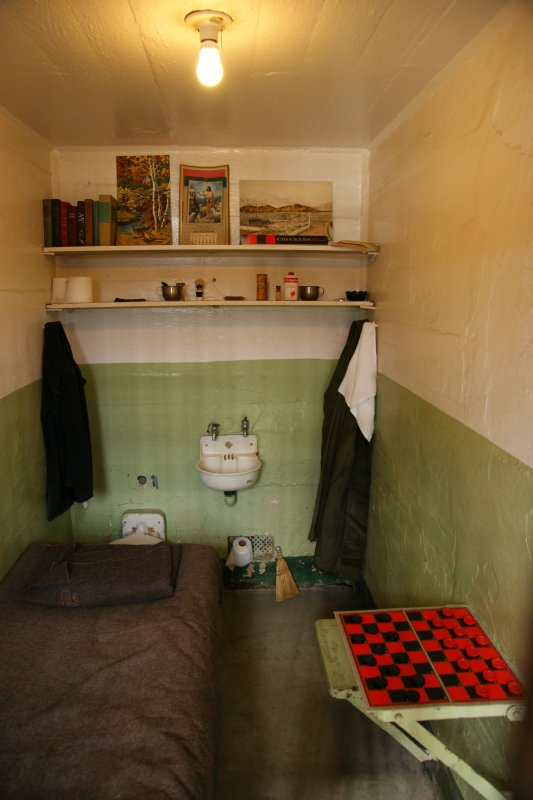 Cell including person things and furniture as it was during the time of Alcatraz's hey day