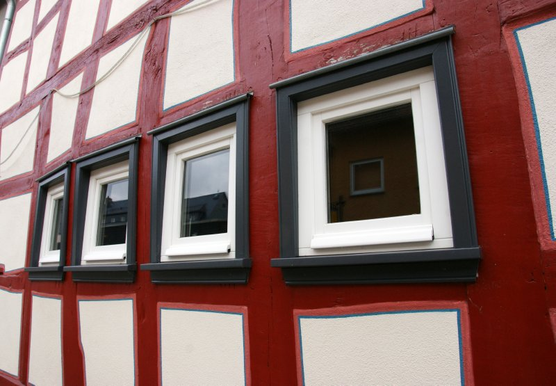 Bulging windows in one of the Idstein houses, Germany