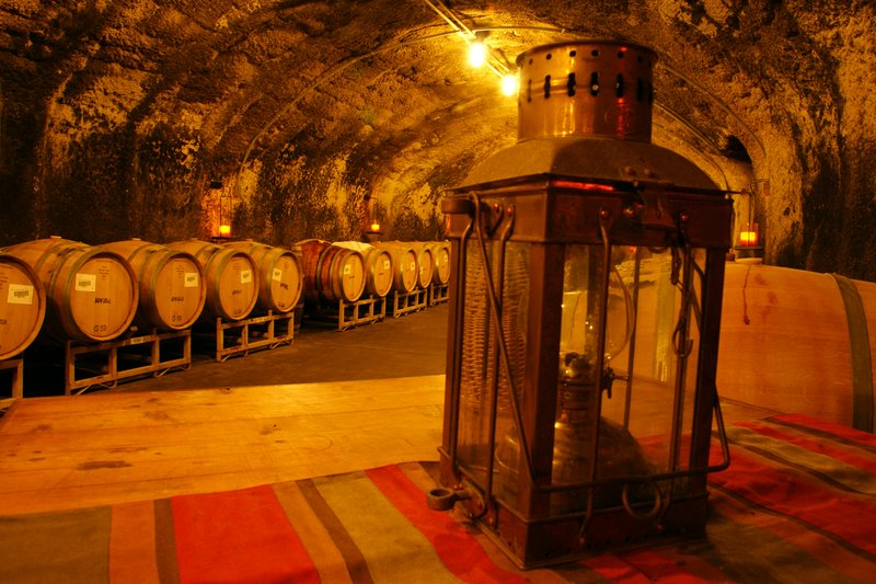 Caves at the Beringer Winery used for storing wine barrels in cool temperatures, St. Helena, California