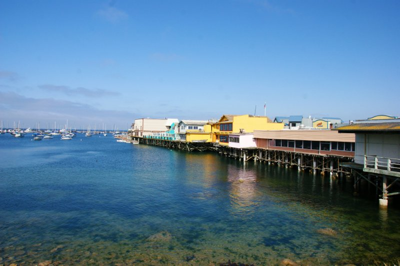 Monterey harbour with its houses built on stilts, California