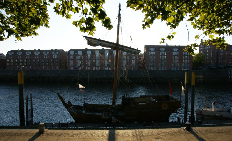 One of the many old boats in the old Bremen harbour, Germany