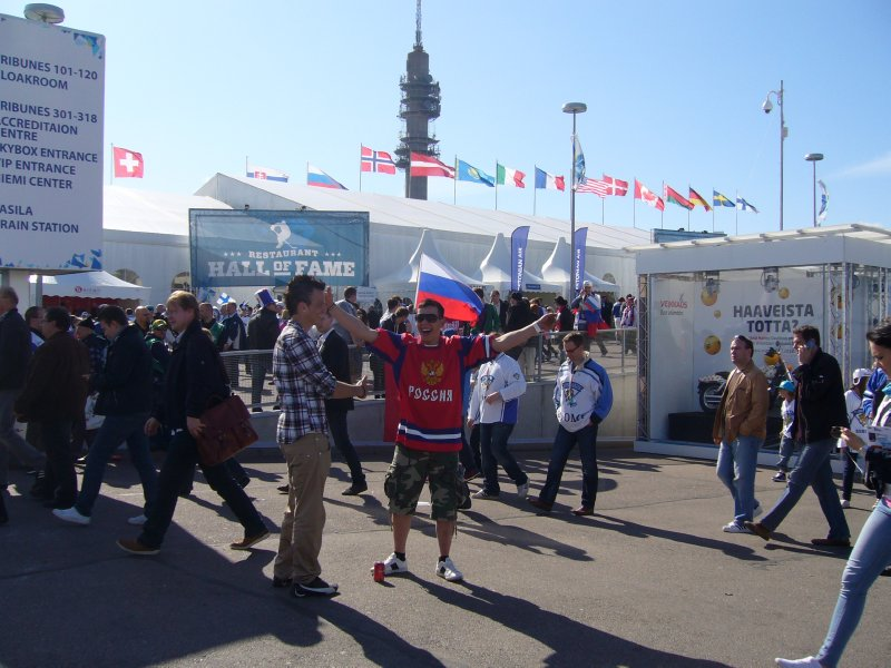 Russian fan celebrating after the defeat of Finland at the Hartwall arena