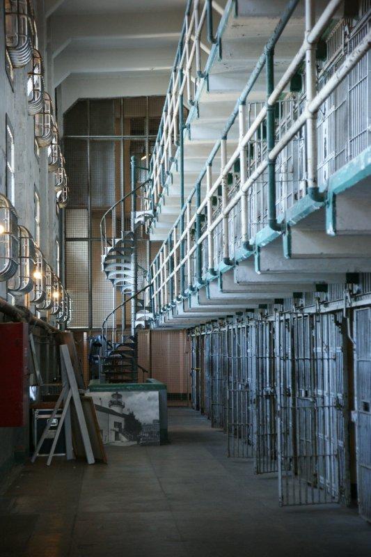 One of the many cell corridors at Alcatraz, San Francisco