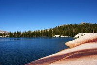 Lower Cathedral Lake with its water rich in minerals, Yosemite Park, California, US