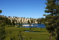 Glimpses of the Upper Cathedral Lake, Yosemite Park, California