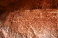 Petroglyphs in a narrow canyon in Wadi Rum
