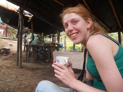 Nyree loving the Colombian Coffee.