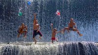 Boys playing at Udar River