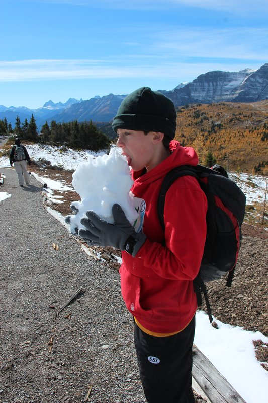 Angus samples a local ice block