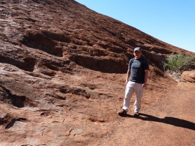 Stepping on Ayers Rock itself - Peter did want to climb it!