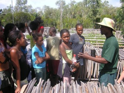 Kids from the local villages discovring the Tree Nursery
