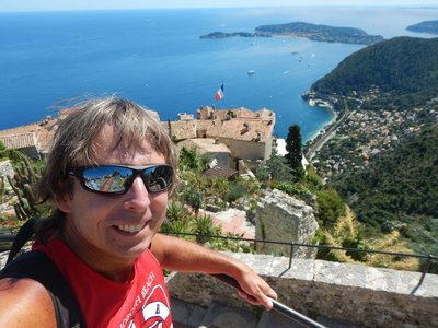 The village of Eze (rhymes with Fez or Pez) sits on a high cliff 1400 ft above the sea; it's one of the most gorgeous places I've ever visited