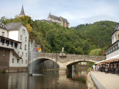 Vianden Castle is perched above the Our River which runs through the town of 1800; the river is dammed just outside of town
