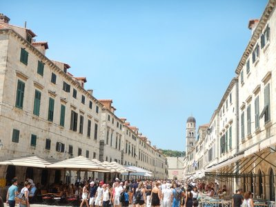 The Stradun is the main street in the old town and is lined with gorgeous Baroque buildings; the street was designed after many buildings collapsed in the 1667 earthquake
