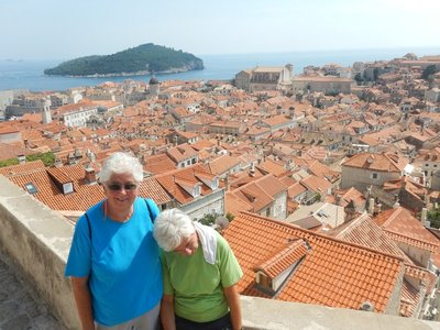 Walking the city walls is the number one thing to do in Dubrovnik; I can't believe it costs almost $25 now but, especially in the morning, the walls are clogged with tourists (the heat and steps were taking a toll on Marilyn)