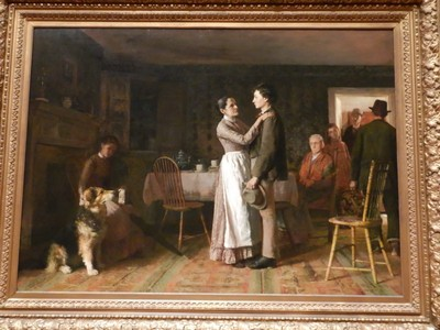 Breaking Home Ties, Thomas Hovenden, 1890; voted the most popular painting at the 1893 Chicago World's Columbian Exposition, this work shows the growing number of young men leaving rural America for jobs in the cities