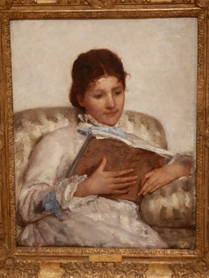 The Reader, Mary Cassatt, 1877; Cassatt spent most of her life in France, where she became the only American to exhibit with the Impressionists