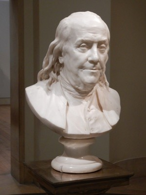 Bust of Benjamin Franklin, Jean-Antoine Houdon, 1779; this piece is remarkable because Franklin never sat for Houdon but the two had just met at various events around Paris
