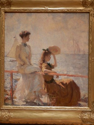 Summer Day, Frank Weston Benson, 1911; influenced by the French Impressionists, Benson captures the effects of warmth, light and air in this portrait of his two elegantly dressed daughters