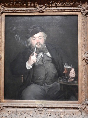 LeBon Bock, Edouard Manet, 1873; bock is a dark, rich beer made in the spring; this vivid depiction of a drinker recalls the animated portraits by seventeenth-century Dutch masters like Frans Hals that Manet greatly admired