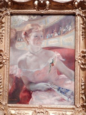 Woman with a Pearl Necklace in a Loge, Mary Cassatt, 1879; the artist used her sister Lydia as the model in this work at the Paris Opera House; she is seated in front of a massive mirror that is reflecting the theater scene that she is experiencing