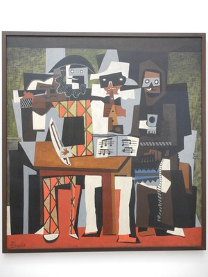 Three Musicians, Pablo Picasso, 1921; in Cubism, the subject is transformed into a sequence of planes, lines, and arcs; it has been described as an intellectual style because the artists analyzed the shapes of their subjects and reinvented them on canvas