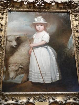 Shepherd Girl (Little Bo-Peep), George Romney, early 1780s; Romney is a kinsman of politicians George W. Romney (1907–1995) and Mitt Romney (born 1947); their ancestor Miles Romney was George Romney's first cousin once removed