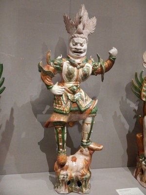 Guardian Warrior, China, early to mid-700s; these clay figures are designed to protect burial grounds; it's amazing that 1300 year old clay figures from China are still intact