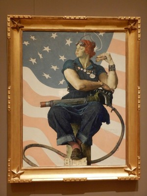 Rosie the Riveter, Norman Rockwell, 1943; this iconic image appeared on the cover of the Saturday Evening Post in 1943 and became a beacon of patriotism