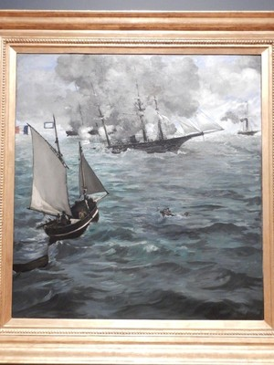 The Battle of the USS Kearsarge and the CSS Alabama, Edouard Manet, 1864; this work depicted a Civil War battle off the coast of Cherbourg, France on June 19, 1864 in which the Kearsarge ultimately sunk the Alabama