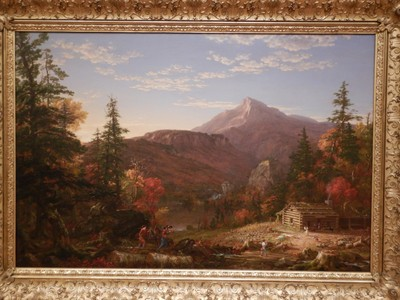 The Hunter's Return, Thomas Cole, 1845; in his 1836 Essay on American Scenery, Cole lamented the ravages of the axe that were destroying the wilderness; ironically, many of his patrons were responsible for America's industrialization