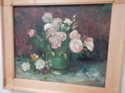 Van Gogh, Roses and Peonies, 1886; Helene was born into a wealthy industrialist family in Essen and married a Dutch shipping and mining tycoon so her ability to purchase art was unlimited