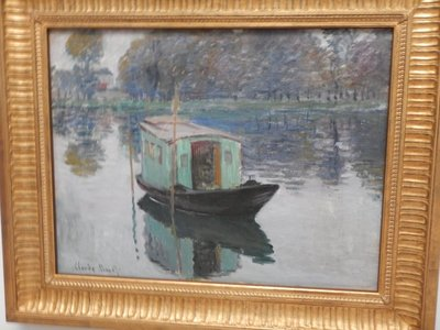 Monet, Studio Boat, 1874; this was the only Monet exhibited and not one of his masterpieces