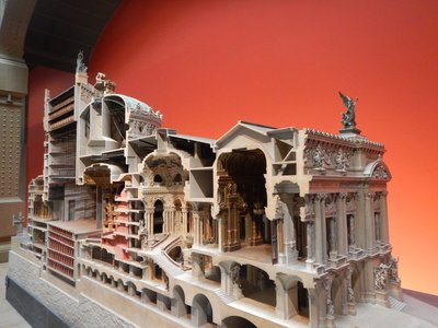 Exceptional model of the Opera Garnier; the actual theater is on the far left; much more important, were the public spaces to the right where people went to be seen