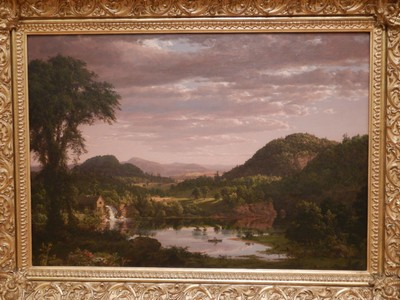 New England Landscape, Frederic Edwin Church, ca. 1849; in 1844, at the age of 18, Church left his family to become the first pupil of renowned landscape painter Thomas Cole