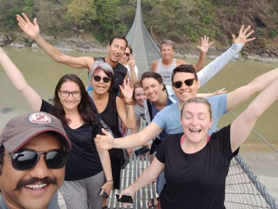 All along our drives in Nepal were these long, pedestrian suspension bridges; we were excited just to get a chance to stretch our legs after endless days of riding the rough roads of Nepal