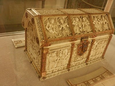 Ivory case, 1720; I wonder how many elephants or other mammals were killed so the rich here could have this collectible
