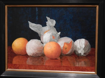 Wrapped Oranges, William McCloskey, 1889; the vibrancy of the oranges is striking against the crisp white wrappers and the rich glow of a gem-blue backdrop