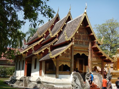 In Wat Phra Singh, Wihan Lai Kham was built in 1345 to house the Phra Buddha Singh statue and it is a prime example of classical Lanna architecture