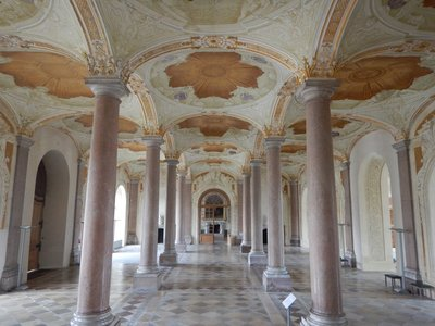 The vestibule in the New Palace was completed in 1726; it was built by Elector Max Emanuel in the country about 10 miles north of Munich