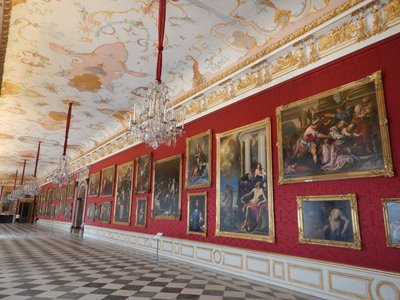The Great Gallery in the New Palace is an important example of German Baroque architecture; the number of paintings in the palace was overwhelming with just a few from names I recognized