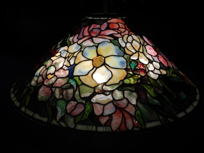 Peony Hanging Shade, ca. 1900-06; the Queens Museum at Flushing Meadows, Corona Park also holds a large collection of Tiffany Lamps; the museum is located in the New York City Building, the historic pavilion designed for the 1939 World's Fair