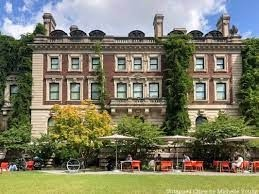 The Cooper Hewitt is housed in the 64 room former mansion of Andrew Carnegie; it was the first private residence in the US to have a structural steel frame and the first home in New York to have an Otis elevator
